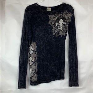Vocal black ribbed gothic rhinestone cotton knit